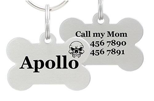 io tags Double Sided Laser Etched Stainless Steel Pet ID Tag for Dog Engraved and Personalized Bone Shape (Skull)