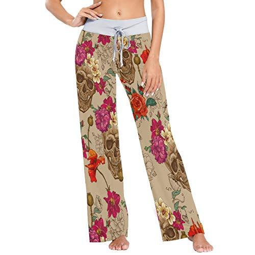 Pantalones de Pijama para Mujer Pantalones de Dormir Pantalones Largos atléticos de Pierna Ancha Flores de Calavera