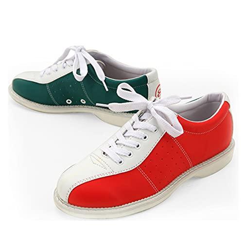 Herren Bowlingschuhe Leichte Wohnung Sohle Frauen Schüsseln Schuhe Bowling Trainer,Rot,44 EU