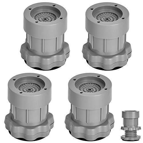 Vibrationsdämpfer, Queta 4 Stück Schwingungsdämpfer Verstellbare Waschmaschine Antivibrationsmatte für Waschmaschinen Trockner (Grau)