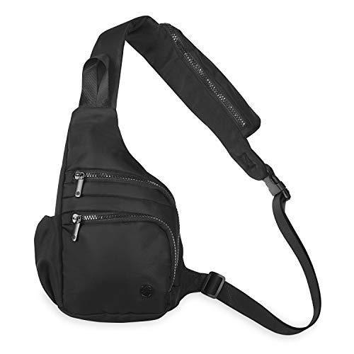 Gaiam Mini Backpack Festival Shoulder Sling Bag (Black) - One Strap Small Crossbody Purse for Yoga, Gym, Travel for Women and Men