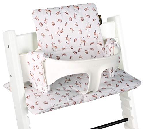 Ukje - Cojin Para Tronas de Bebe Stokke Tripp Trapp 2 Piezas Funda Silla OEKO TEX® Standard 100 Funda Cojin Revestimiento Plastico Práctico Fácil de Limpiar conejos blancos