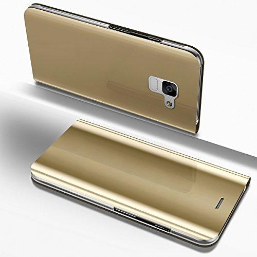 Ysimee Coque Samsung Galaxy S9, Étui Folio à Rabat Clear View Case Couleur Unie Translucide Miroir Housse de Protection Fonction Support Ultra Mince Flip Portefeuille Coque pour Samsung Galaxy S9, Or