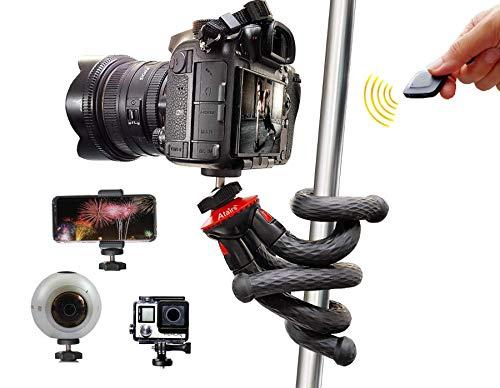 Flexibles Stativ mit Bluetooth-Auslöser, Selfiestick, Reisestativ für Smartphones z.B. iPhone XS Samsung S7 Edge S8 S9+ S10 Plus S20 Huawei P30 P40 DSLR Canon Nikon Sony Actioncams GoPro - rot, Atairs