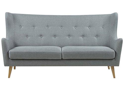 möbelando Sofa Stoffcouch Couch Dreisitzer Küchensofa Retro grau Kaoma I (3-Sitzer)
