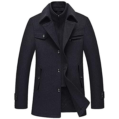 cappotto uomo invernale corto Allthemen Cappotto da Uomo in Lana Giacca Slim Fit da Lavoro Corto Business Trench Coat Soft Touch Calda Invernale Grigio S