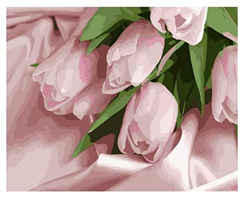 ysldtty Rompecabezas De 1000 Piezas Romántico Pink Flower Tulip Artpuzzles Juguetes para Adultos Niños Puzzle Patrón De Regalo Juguetes Educativos