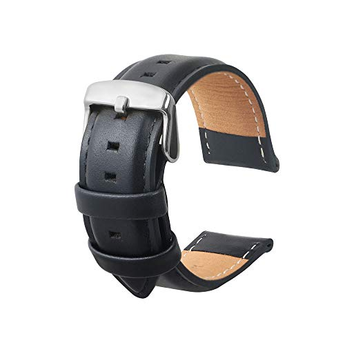 omyzam Cinturino Orologi Cuoio Genuino Di Vitello Uomini E Donne Cinturini Di Ricambio Adatta Per Orologi Moda Sportivi Smart Watch Nero 20MM