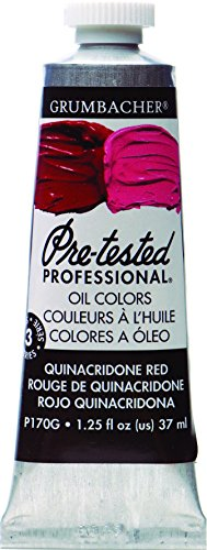 Grumbacher Pre-Tested Oil Paint, 37ml/1.25 Ounce, Quinacridone Red (P170G)