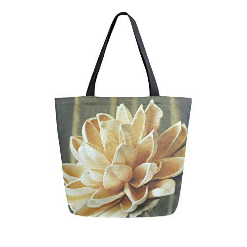 JinDoDo - Bolsa de lona hecha a mano, diseño de flores pétalas, color beige