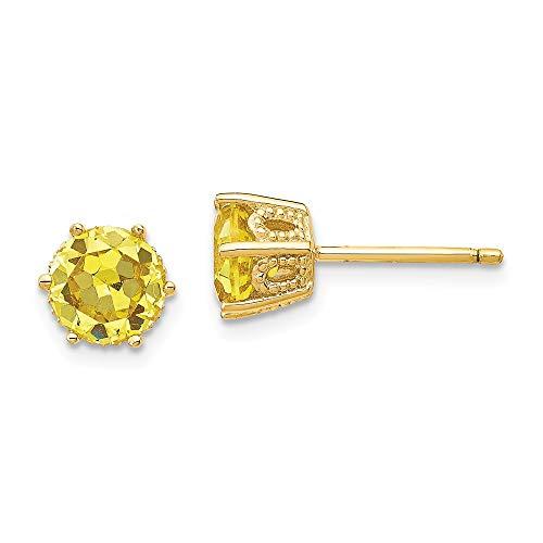 Touch Jewellery - Orecchini a perno in argento sterling, placcati in oro, 6,5 mm, colore: Giallo