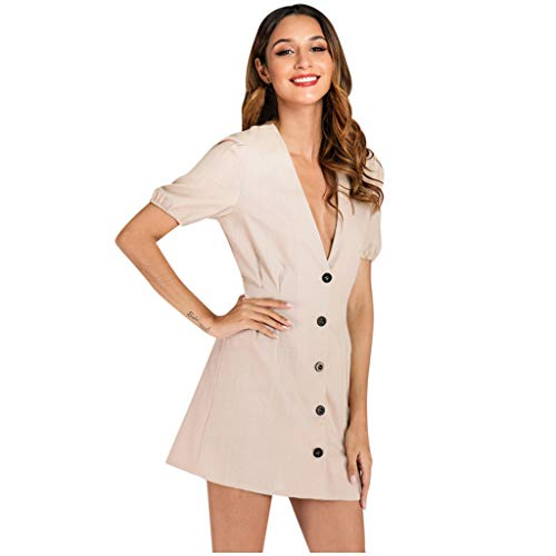 Great Deal! Witspace Fashion Women Solid V-Neck Short Sleeve Buttons Mini Casual Elegant Dress