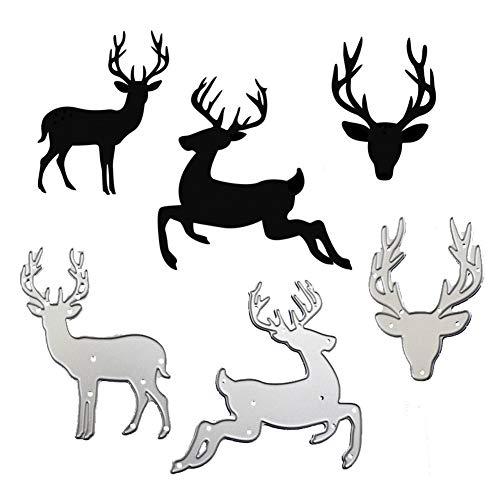 WYSE Metal Cutting Die cuts Christmas Deer Dies for DIY Scrapbooking Paper Stencil Embossing Card Template (3pcs Deer Dies)