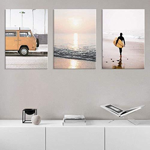 Paredes artísticas Seaside Beach Tabla de Surf Paisaje European Retro Bus Wall Art Pictures Sala de Estar Dormitorio Posters Decoración para el hogar 3 Piezas 60x80cm sin Marco