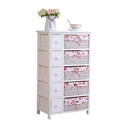 Meubles Chambre Commode, 5 Couches Cabinet Tiroirs Avec Paniers En Osier (Color : Pink)