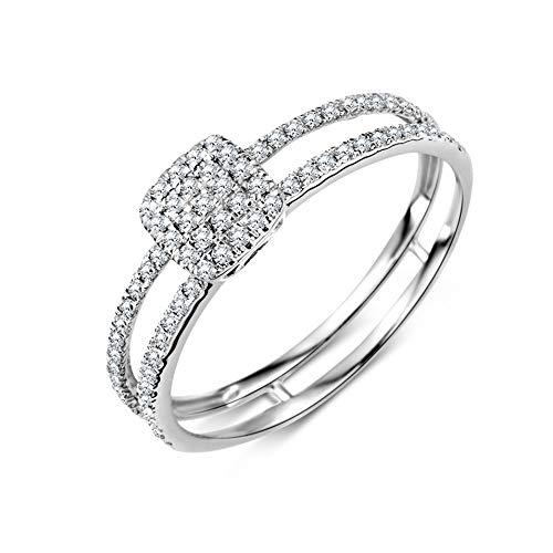 Miore Ring Damen Diamant Pavé Verlobungsring doppelreihig Weißgold 9 Karat / 375 Gold Diamanten Brillanten 0.24 Ct, Schmuck