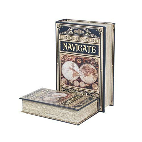 CAPRILO. Set de 2 Cajas Libro Decorativas de Madera y Tela Navigate. Cajas Multiusos. Joyeros. Regalos Originales. Decoración Hogar. 7 x 27 x 18 cm.