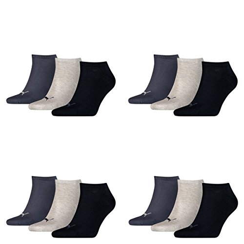 PUMA Unisex Invisible Sneaker Sokken 12 Pack, Maat: 43-46; Kleur: Navy/Grey/Nights Blue