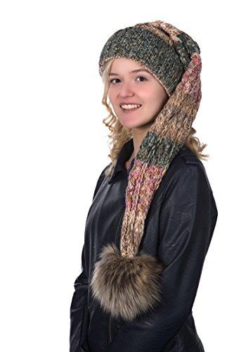 Beanie A 105 Mütze, Zipfelmütze, Pudelmütze, Wintermütze mit großer Fellbommel aus Fellimitat. Extra Lang mit weichem Fleece abgefüttert