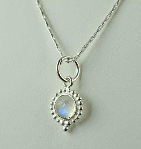 Regenbogen Mondstein 925 massiv Sterling Silber handgefertigte Anhänger Kette Halskette