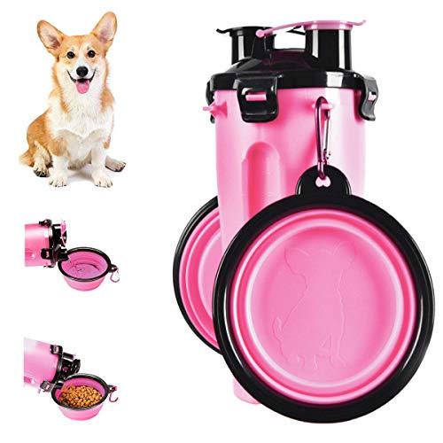 Botella de Agua para Perros Portátil 2 en 1 Envase de Comida para Perro 2 Plegable Tazones para Mascotas Bebedero dispensador Mascotas al Aire Libre Caminar Viajar Cámping Paseo Senderismo (Rosa)