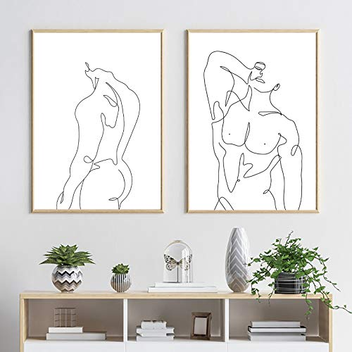 Male Figure Canvas Painting for Home Wall Decor Posters Print Abstract Man Body Print Line Art Poster Nude Paintings Minimalist Wall Art Pictures Hoom Decor Man Figure Naked Black and White Frameless