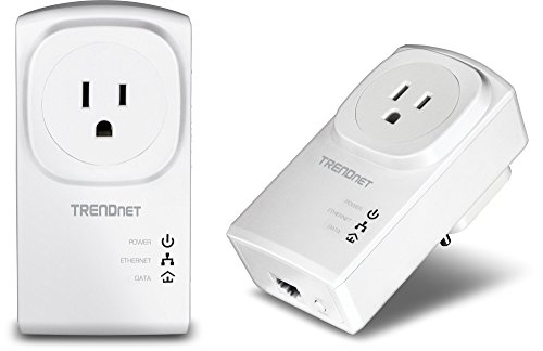 TRENDnet Powerline 500 AV Nano Adapter Kit with Built-In Outlet, With Power Outlet Pass-Through, Includes 2 x TPL-407E Adapters, TPL-407E2K, White, AV 500 Pass-Through