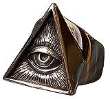 VUJK Anillo de motociclista de acero inoxidable para hombre anillo de calavera de color plateado triángulo masónico anillos masónicos punk joyería masónica 10