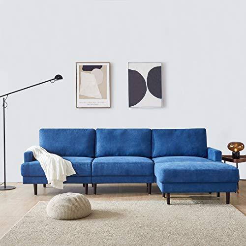 Belissy Sofá moderno de 3 plazas, de tela, en forma de L, elástica, con otomana de 266 cm, con cojín de respaldo grande, función de cama, sillón acolchado, sofá para salón, color azul oscuro