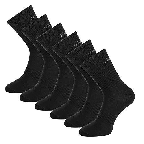 Toes&Feet Herren Antibakterielle Anti Schweiß Geruchtilgende Sportsocken Dress Crew Socken, 6 Paar Schwarz, Einheitsgröße