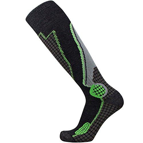 Pure Athlete High Performance Wool Ski Socks – Outdoor Wool Skiing Socks, Snowboard Socks (Black/Grey/Neon Green, Large)