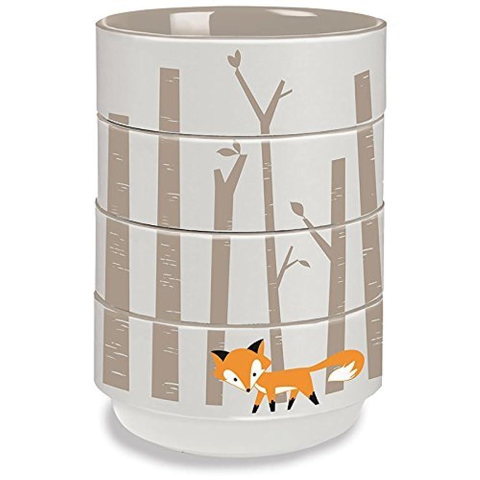 4 Piece Set-Kitsch'n Glam Ceramic Stacking Bowls- Fox Theme by Kitsch'n Glam