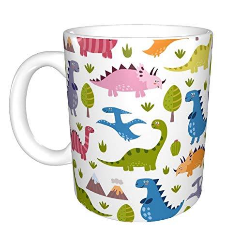 Chanety,taza de agua aislada,taza de agua Taza de café de cerámica brillante del dinosaurio lindo para la oficina y el hogar adecuado para lavavajillas y microondas taza de agua plegable