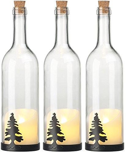 3 bouteilles de vin décoratives avec bougie LED vacillante - Sapin [Lunartec]