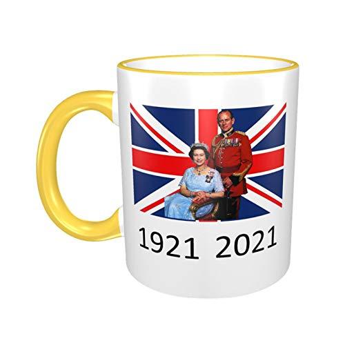 Tasse Queen Elizabeth II & Prinz Philip auf der britischen Flagge, UK Britain Monarch 1921–2021, Gelb