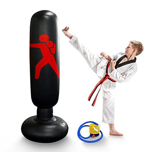 160 cm Sac de Frappe sur Pied,Sac de Boxe Gonflable pour Enfants et Adultes,Punching-Ball avec Pompe à Air au Pied, pour Entraînement de Karaté,Taekwondo,Fitness et Decompression (Noir)