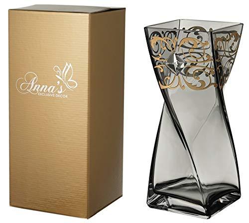 Anna's Exclusieve Decor Grijze Glas Vaas 30 cm - Versierd met Grote Kristal van Swarovski® en Gouden Sierpatroon - Gouden Geschenkdoos - Grijze Mond Geblazen Glas Unieke Vorm - 11,8 in
