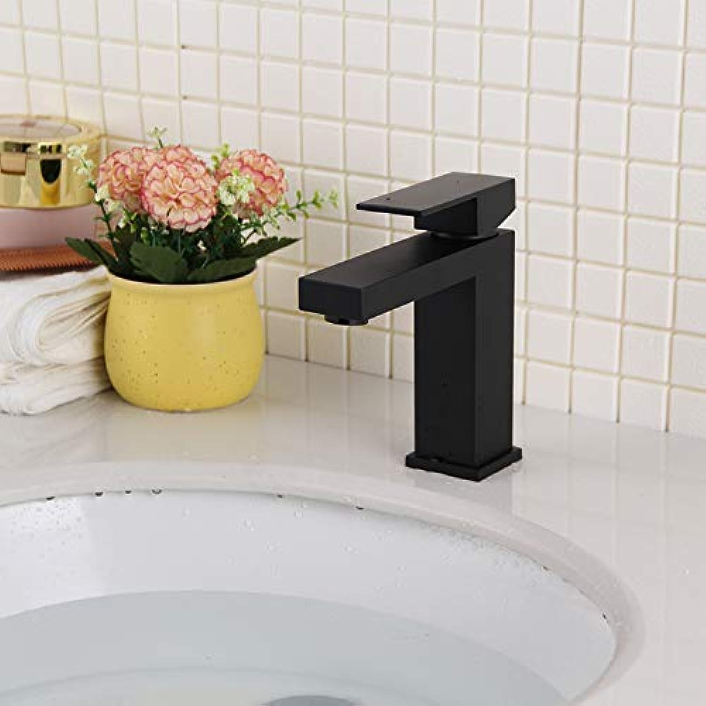 Waschtischarmaturen Waschraumarmaturen BadinsGrößetionen Wasserhhne Vollkupfer-Becken Wasserhahn Mattschwarz Quadratisch Einlochmontage Warm und Kalt Waschraum Badezimmerschrank Waschbecken Wasserhah