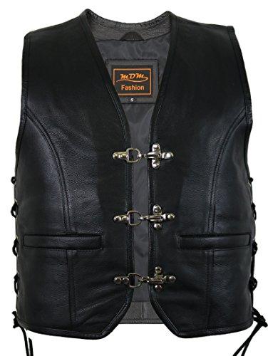 Veste Gilet en Cuir Biker Noir (XL)
