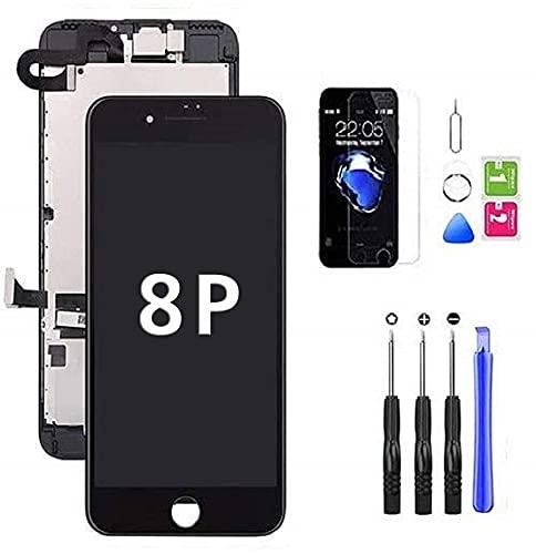 Hoonyer Display per iPhone 8 Plus Touch Screen LCD Digitizer Schermo Utensili Inclusi(con Fotocamera, Altoparlante, Sensore Flex) Nero