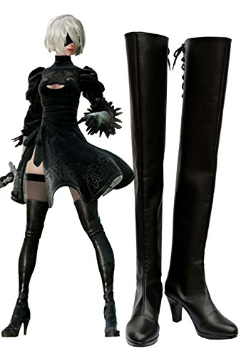 Telacos Nier: Automaten 2B Stiefel Cosplay Schuhe Stiefel Custom Made, Damen, schwarz