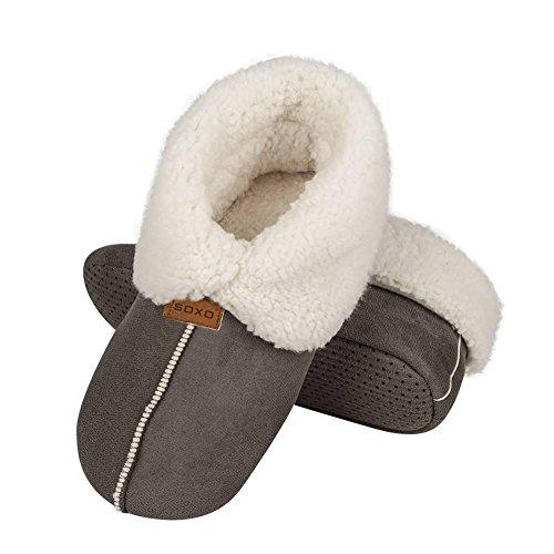 soxo Damen Warme Hausschuhe | Frauen Winter Plüsch Pantoffel | Plüschige Innenfutter | 2 Farben (35-36, Grau)