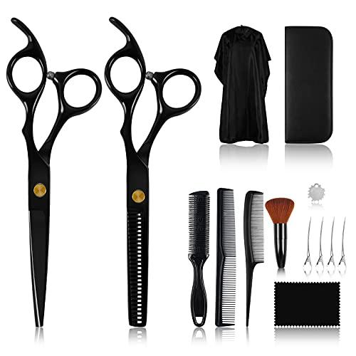 Haarschneideschere, Haarschere Set,14Pcs Professionelle Rostfreiem Stahl Friseurscheren mit Friseurumhang, Effilierschere Friseurschere für Damen,Herren und Kinder