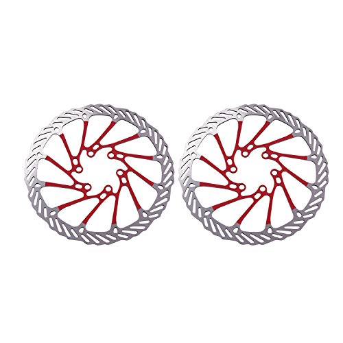 XZANTE 2 X Rotor del Freno Disco De Acero Inoxidable para Bicicleta MTB 160 Mm con Jeugo De 12 Pernos Rojo