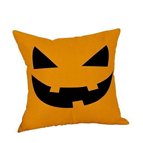 YYZCKW Fundas de Cojines Funda Decorativa Throw Pillow Halloween Pumpkin Holiday Velvet Cotton Linen Hocus Pocus Funda de cojín Trick or Treat 45x45cm D