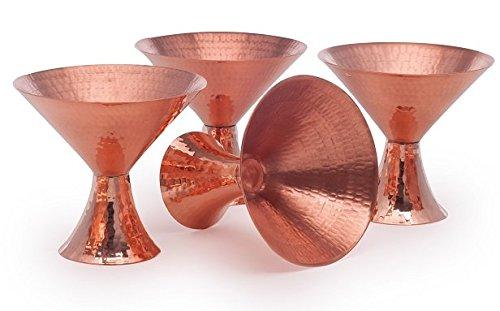 """Sertodo Copper MC-4 Satini Martini Cocktail Cup, Hand Hammered 100% Pure Copper, 8 oz, 7.5"""""""" Diameter, Set of 4"""