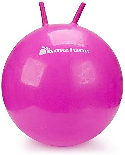 meteor® Bouncy Hüpfball Gummiball Hopsball Sprungball Springball Hopser (Rosa, 55cm)