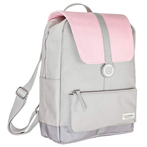 Rucksack Bali, hellgrau - rosa, wasserabweisender Canvas/groß/Laptop Notebook 15,6 Zoll/DIN A4 Ordner/für Schule, Arbeit, Uni, Reisen