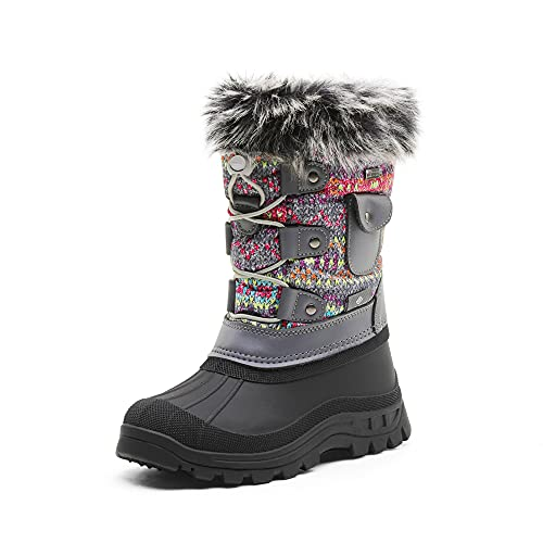 DREAM PAIRS Toddler Ksnow Grey Multi Isulated Waterproof Snow Boots - 9 M US Toddler