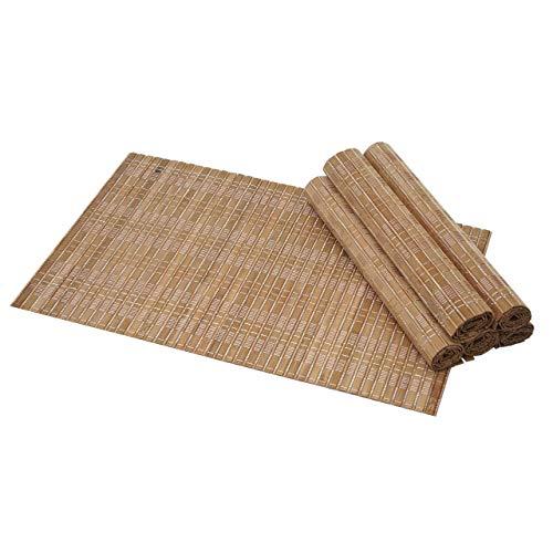 Mendler 6-teiliges Tischset HWC-C13, Platzdeckchen Tischmatte Platzset, Bambus abwaschbar 45x30cm ~ Dunkelbraun